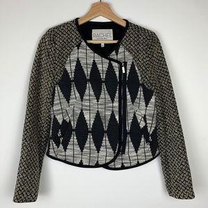 Rachel Roy Diamond Pattern Fabric Moto Jacket